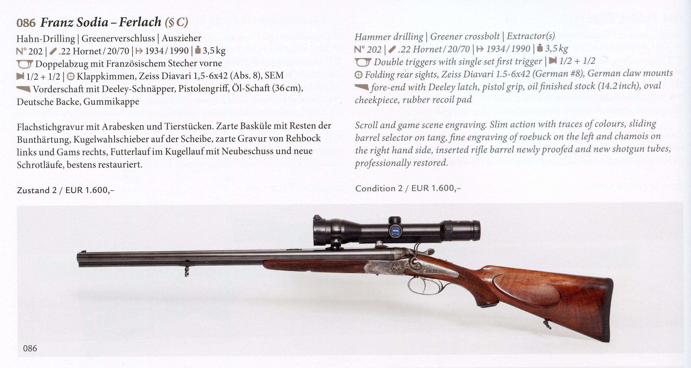 Sodia, Franz & Anton- Ferlach – German Hunting Guns